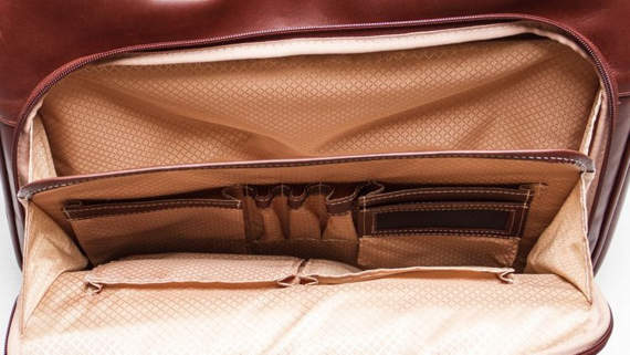 "17"" Leather Fly-Through™ Checkpoint-Friendly Laptop Case Mcklein Rockford"